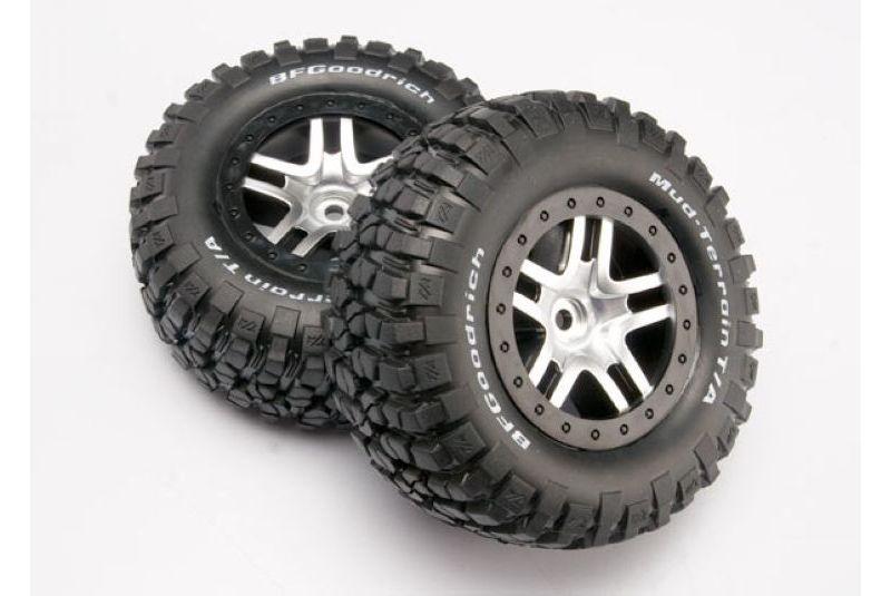 Колеса, диски, резина для радиоуправляемых машин TRAXXAS Tires & wheels, assembled, glued (SCT Split-Spoke satin chrome, black beadlock style BFG
