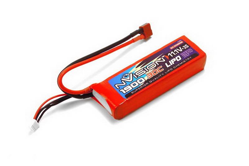 Аккумулятор nVision 11.1V 1900mAh 30C LiPo Deans plug аккумулятор nvision lipo 14 8 v 4s 30c 3700 mah nvo1815