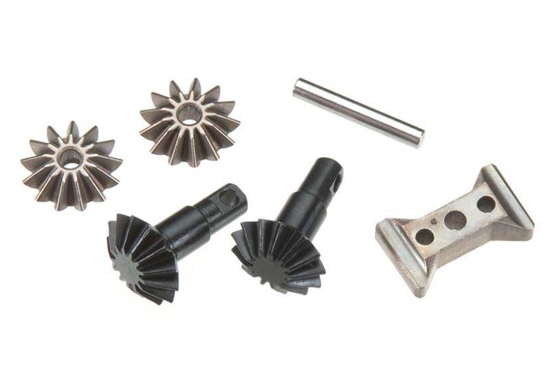 Запчасти для радиоуправляемых моделей Traxxas TRAXXAS Gear set, differential (output gears (2): spider gears (2): spider gear shaft, carrier support)