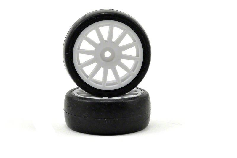 Колеса в сборе TRAXXAS 12-spoke white wheels + slick tires