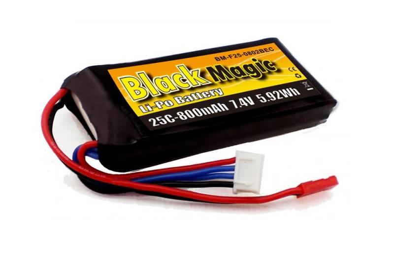 Аккумулятор Black Magic 7.4V 800mAh 25C LiPo JST-BEC plug