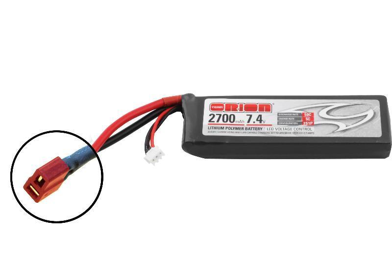 Аккумулятор Team Orion Batteries 7.4V 2700mAh 50C LiPo Deans plug + LED status аккумулятор team orion batteries 11 1v 2200mah 50c lipo xt60 plug led status