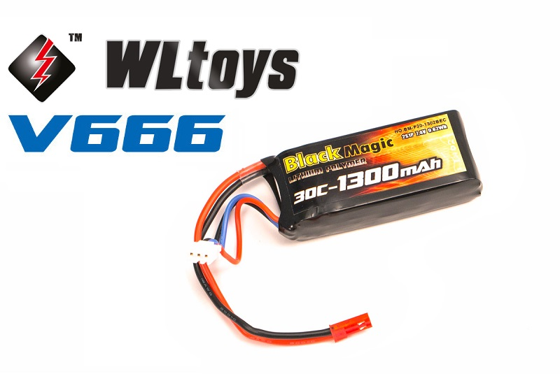 Аккумулятор Black Magic 7.4V 1300mAh 30C LiPo JST-BEC plug (WLToys V666)