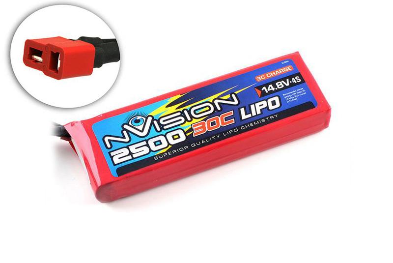 Аккумулятор nVision 14.8V 2500mAh 30C LiPo Deans plug аккумулятор nvision lipo 14 8 v 4s 30c 3700 mah nvo1815