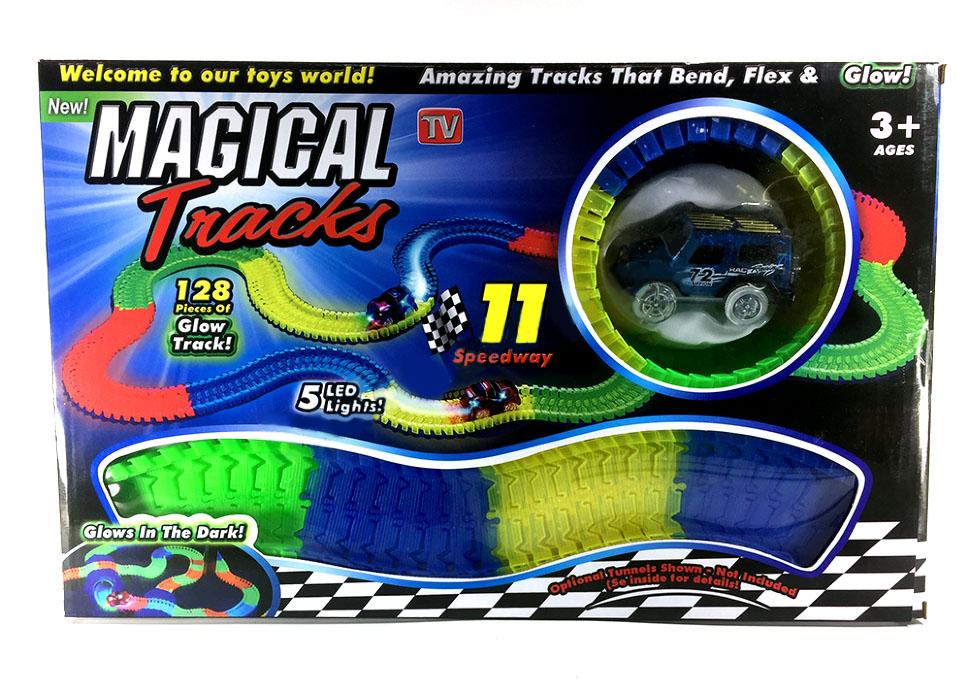 Гоночная трасса Magic Tracks Автотрек Track Car 128 деталей (гибкий, светится в темноте)