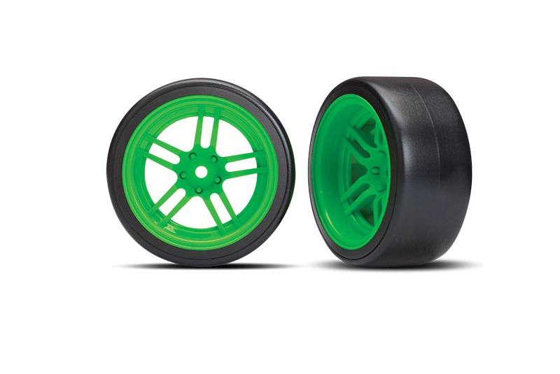 Колеса в сборе TRAXXAS Split-spoke green wheels + 1.9 Drift tires (задние)