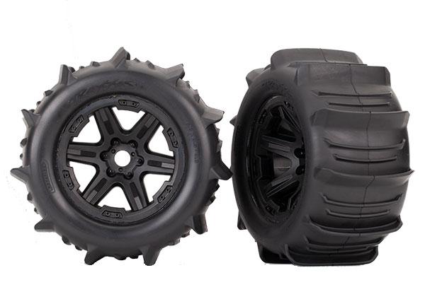 "Аксессуары для радиоуправляемых моделей TRAXXAS Tires & wheels, assembled, glued (black 3.8"" paddle tires, foam inserts) (2) (TSM rated)"