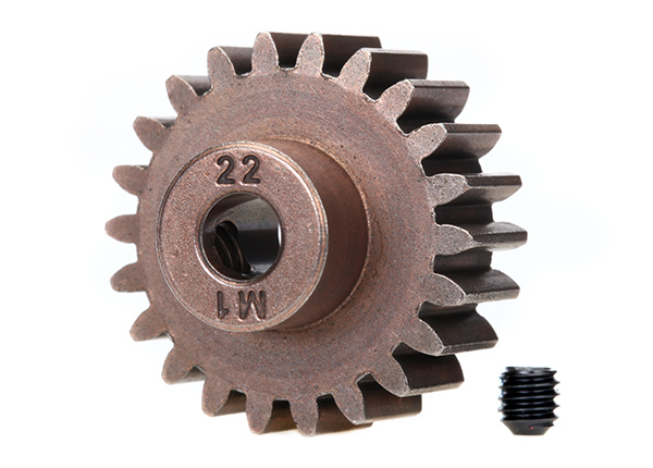 Запчасти для радиоуправляемых моделей Traxxas TRAXXAS Gear, 22-T pinion (1.0 metric pitch) (fits 5mm shaft): set screw (compatible with steel spur gears)