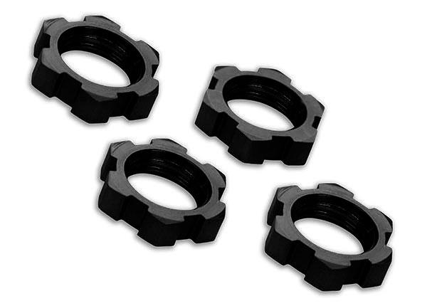 Запчасти для радиоуправляемых моделей Traxxas TRAXXAS Wheel nuts, splined, 17mm, serrated (black-anodized) (4)