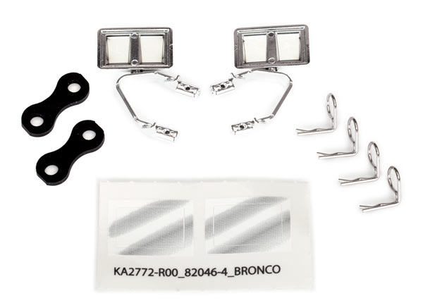 Запчасти для радиоуправляемых моделей Traxxas TRAXXAS Mirrors, side, chrome (left & right): retainers (2): body clips (4) (fits #8010 body)