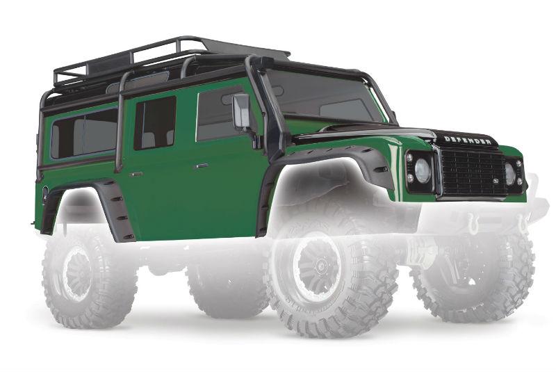Кузов TRAXXAS Land Rover Defender (зеленый, с аксессуарами обвеса)