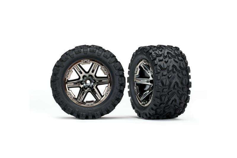 Колеса в сборе TRAXXAS RXT black chrome wheels + Talon Extreme 2.8