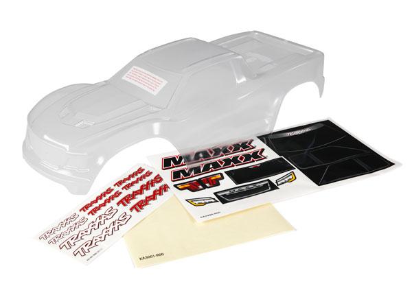 Аксессуары для радиоуправляемых моделей TRAXXAS Body, Maxx® (clear, untrimmed, requires painting)/ window masks/ decal sheet аксессуары для радиоуправляемых игрушек