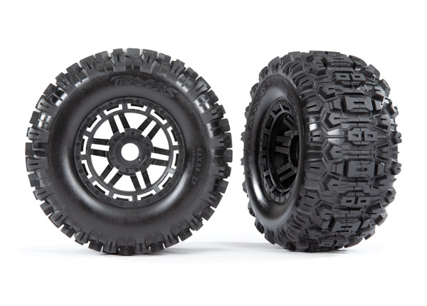 Колеса в сборе TRAXXAS Tires & wheels, assembled, glued (black dual profile (2.8 outer, 3.6 inner), Sledgehammer™ tires