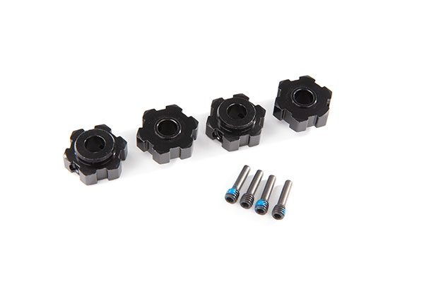 Запчасти для радиоуправляемых моделей Traxxas TRAXXAS Wheel hubs, hex, aluminum (black-anodized) (4)/ 4x13mm screw pins (4)
