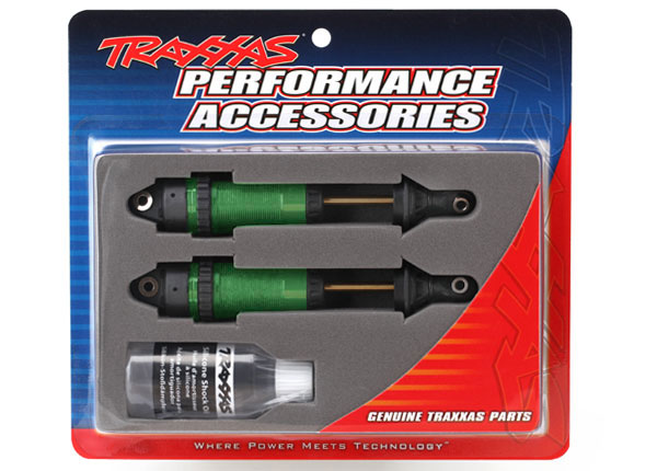 Запчасти для радиоуправляемых моделей Traxxas TRAXXAS Shocks, GTR xx-long green-anodized, PTFE-coated bodies with TiN shafts (fully assembled, without springs) (2)