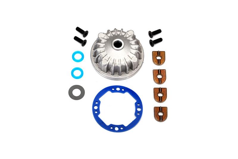 Корпус межосевого дифференциала TRAXXAS (алюминий)/ X-кольцо уплотнения (2)/ кольцевой шестерни, прокладок и втулок (2)/ 5x10x0.5 мм тефлоновое покрытие шайбы (2)/ 2.5х8