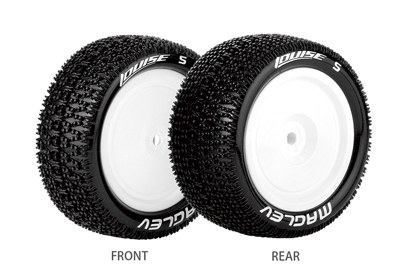 Колеса, диски, резина для радиоуправляемых машин Louise Rc E-MAGLEV 1/10 BUGGY 4WD REAR TIRE SOFT / WHITE RIM MOUNTED (FOR KYOSHO HEX 12MM & TEAM LOSI 22 REAR)