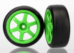 Tires and wheels, assembled, glued (Volk Racing TE37 green wheels, 1.9 Gymkhana slick tires) (2)