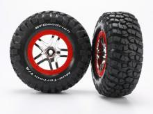 TRAXXAS запчасти SCT Split-Spoke chrome red beadlock style wheels + S1 ultra-soft
