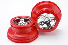 TRAXXAS запчасти SCT chrome red beadlock style (4WD front:rear, 2WD rear)