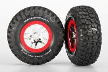 TRAXXAS запчасти SCT Split-Spoke chrome red beadlock + BFGoodrich Mud-Terrain T:A KM2