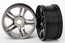 TRAXXAS запчасти ХО-1 split-spoke black chrome (front)
