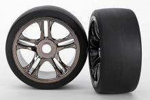 TRAXXAS запчасти ХО-1 split-spoke black chrome wheels + slick tires S1