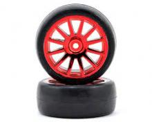 TRAXXAS запчасти 12-spoke red chrome wheels + slick tires