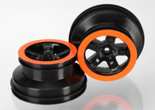 TRAXXAS запчасти Wheels, SCT black, orange beadlock style, dual profile (2.2' outer, 3.0' inner) (4WD f:r, 2WD rear)