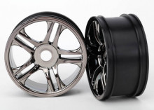 TRAXXAS запчасти Wheels, split-spoke (black chrome) (rear) (2)