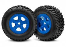 TRAXXAS запчасти Tires and wheels, assembled, glued (SCT blue wheels, SCT off-road racing tires) (1 each, right & lef