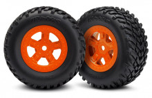 TRAXXAS запчасти Tires and wheels, assembled, glued (SCT orange wheels, SCT off-road racing tires)(1 each, right & le