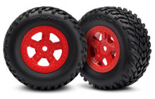 TRAXXAS запчасти Tires and wheels, assembled, glued (SCT red wheels, SCT off-road racing tires) (1 each, right & left