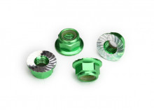 TRAXXAS запчасти Nuts, 5mm flanged nylon locking (aluminum, green-anodized, serrated) (4)