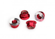 TRAXXAS запчасти Nuts, 5mm flanged nylon locking (aluminum, red-anodized, serrated) (4)