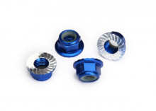 TRAXXAS запчасти Nuts, 5mm flanged nylon locking (aluminum, blue-anodized, serrated) (4)