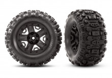"TRAXXAS запчасти Tires & wheels, assembled, glued (black 2.8"" wheels, Sledgehammer™ tires, foam inserts) (2) (TSM® rated)"