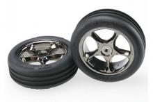 TRAXXAS запчасти Tires & wheels, assembled (Tracer 2.2'' black chrome wheels, Alias ribbed 2.2'&#0