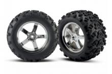 TRAXXAS запчасти Hurricane chrome wheels + Maxx tires 6.3