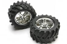 TRAXXAS запчасти SS (Split Spoke) chrome wheels + Maxx tires