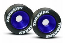 TRAXXAS запчасти Wheels, aluminum (blue-anodized) (2): 5x8mm ball bearings (4): axles (2): rubber tires (2)