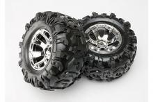 TRAXXAS запчасти Geode chrome wheels + Canyon AT tires