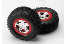 TRAXXAS запчасти SCT satin chrome red beadlock wheels