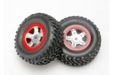 TRAXXAS запчасти SCT satin chrome wheels red beadlock style + SCT off-road racing