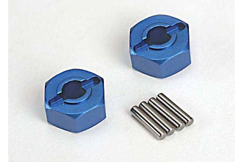 Запчасти для радиоуправляемых моделей Traxxas TRAXXAS Wheel hubs, hex (blue-anodized, lightweight aluminum) (2): axle pins(4)