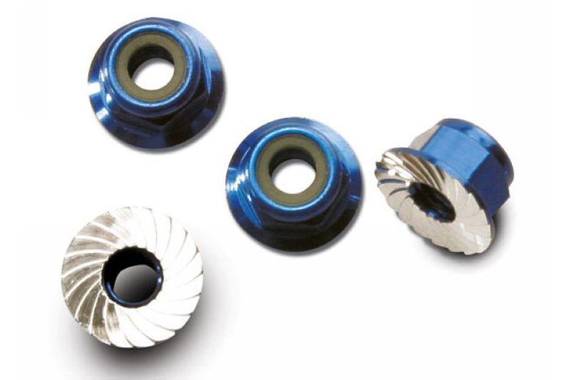 Крепеж для радиоуправляемых моделей TRAXXAS Nuts, aluminum, flanged, serrated (4mm) (blue-anodized) (4)