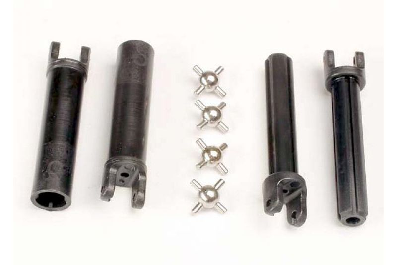Запчасти для радиоуправляемых моделей Traxxas TRAXXAS Half shafts, long truck (external-splined (2) & internal-splined (2): metal U-joints (4)