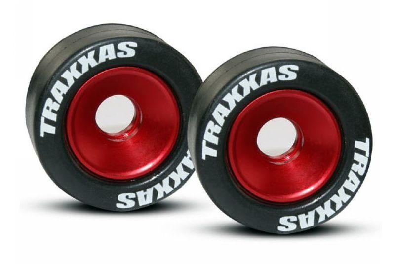 Запчасти для радиоуправляемых моделей Traxxas TRAXXAS Wheels, aluminum (red-anodized) (2): 5x8mm ball bearings (4): axles rubber tires (2)