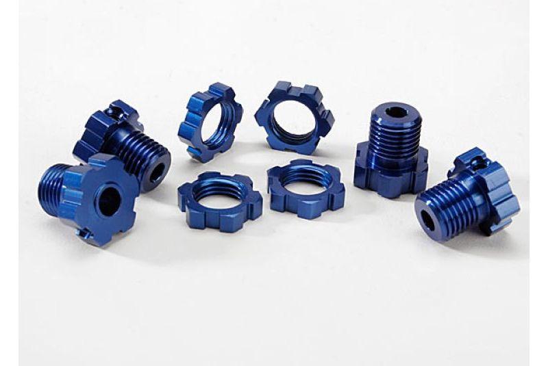 Крепеж для радиоуправляемых моделей TRAXXAS Wheel hubs, splined, 17mm (blue-anodized) (4): wheel nuts, screw